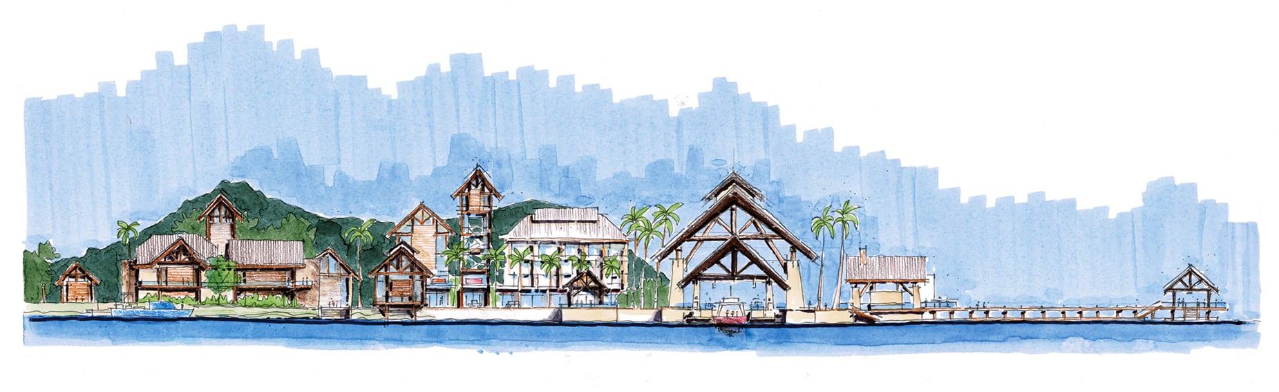 EC88 Hon Thi Island_elevation_casino, village center, lobby, marinaEKISTICS